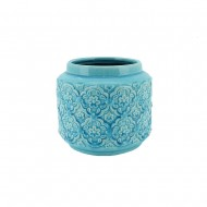 Pot Ceramic Round 19x16cmH - Blue (8/8)