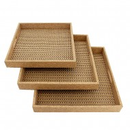 Wooden Tray w/Weave -S/3 40x40x5cmH(2/4)