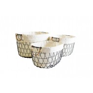 Metal Basket Oval S/3 50x38x30H (L)(2/2)