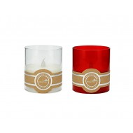 LED Candle in Glass 8x9cmH-Red&Wht(6/12)