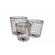 Metal Basket Round S/3 36x31cmH (L)(4/4)